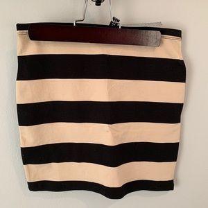 Black and Cream Striped Mini Skirt